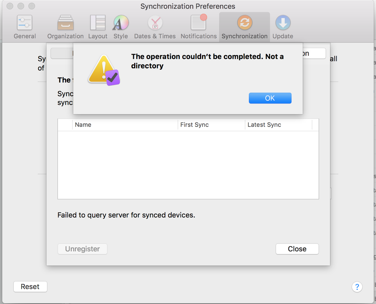 OmniFocus GUI showing the error message
