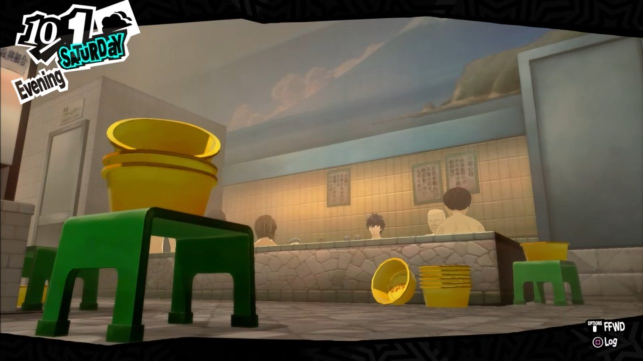 A main character is shown immersed into a public bath.
