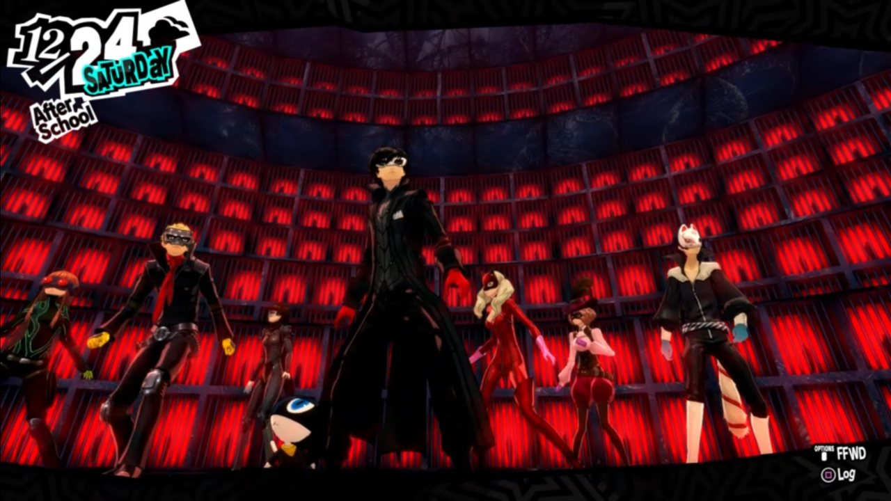 A late-game shot of the Phantom Thieves.