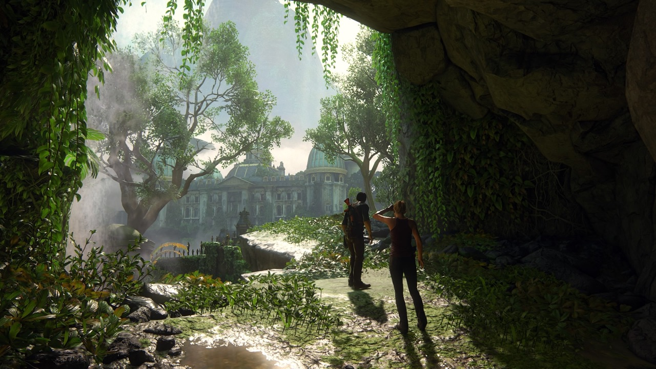 An in-game screenshot of a mansion hidden in a tropical landscape.