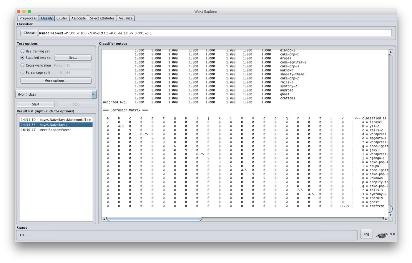 A screenshot of Weka user interface